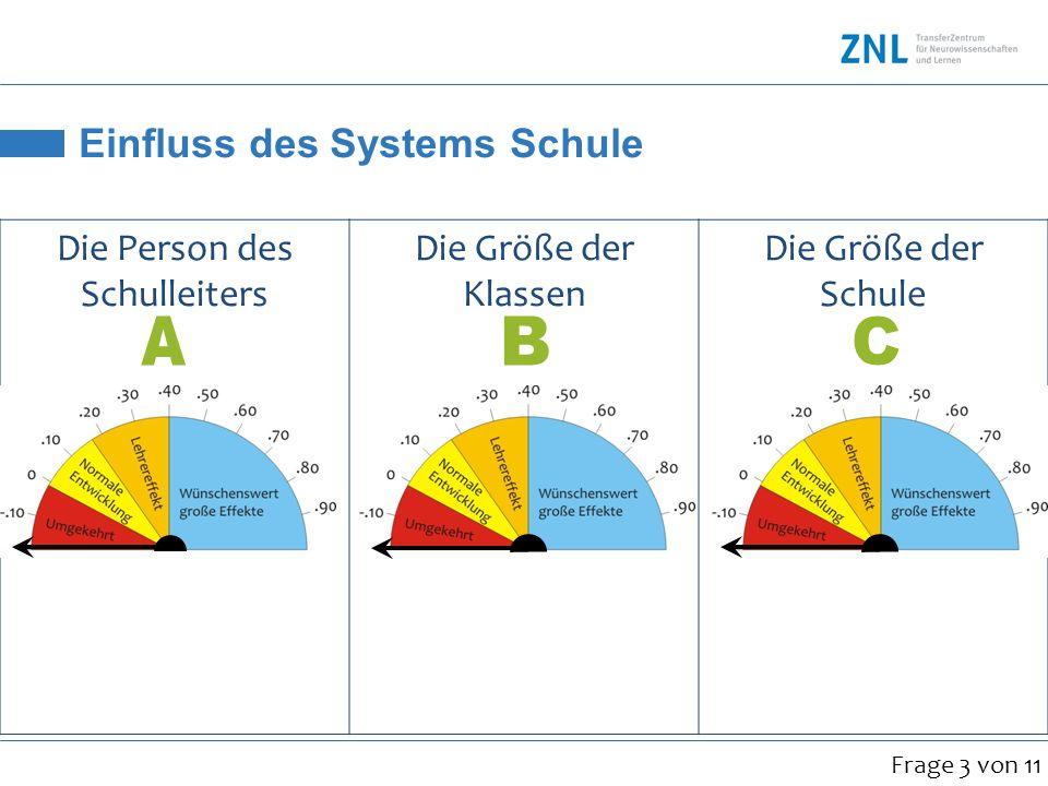 Einfluss des Systems Schule Die Person des Schulleiters Die Größe der Klassen Die Größe der Schule.36.21.43 Frage 3 von 11
