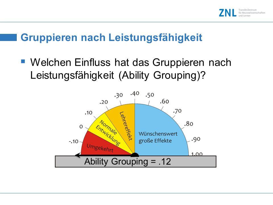 Gruppieren nach Leistungsfähigkeit Welchen Einfluss hat das Gruppieren nach Leistungsfähigkeit (Ability Grouping)? Ability Grouping =.12