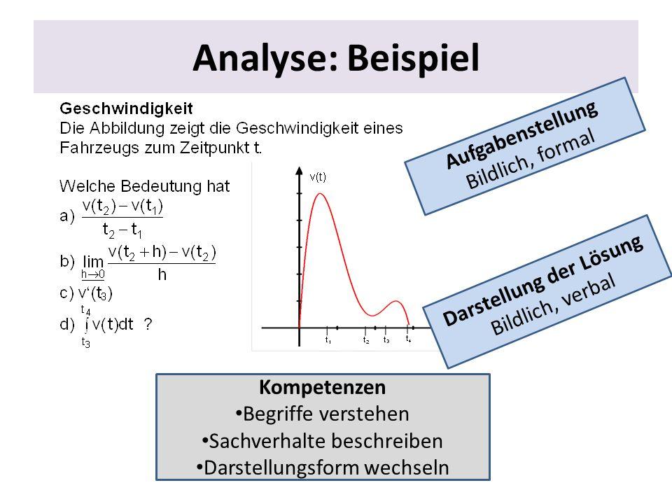 Analyse: Beispiel Aufgabenstellung Bildlich, formal Darstellung der Lösung Bildlich, verbal Kompetenzen Begriffe verstehen Sachverhalte beschreiben Da
