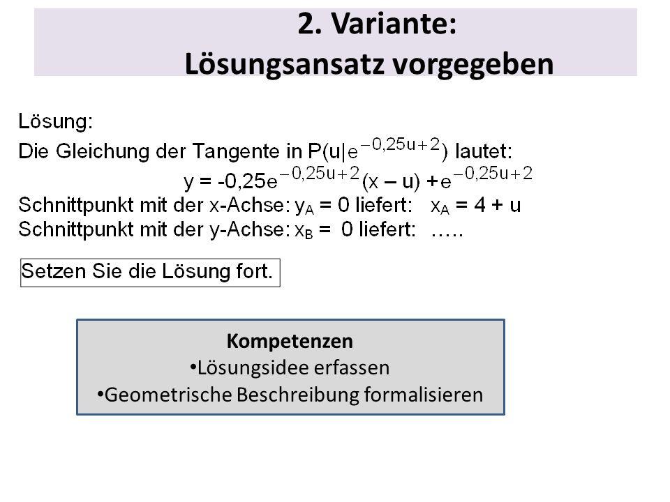2. Variante: Lösungsansatz vorgegeben Kompetenzen Lösungsidee erfassen Geometrische Beschreibung formalisieren