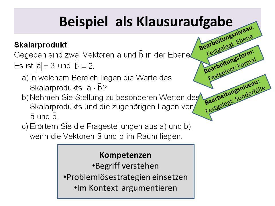 Beispiel als Klausuraufgabe Kompetenzen Begriff verstehen Problemlösestrategien einsetzen Im Kontext argumentieren Bearbeitungsform: Festgelegt: Forma