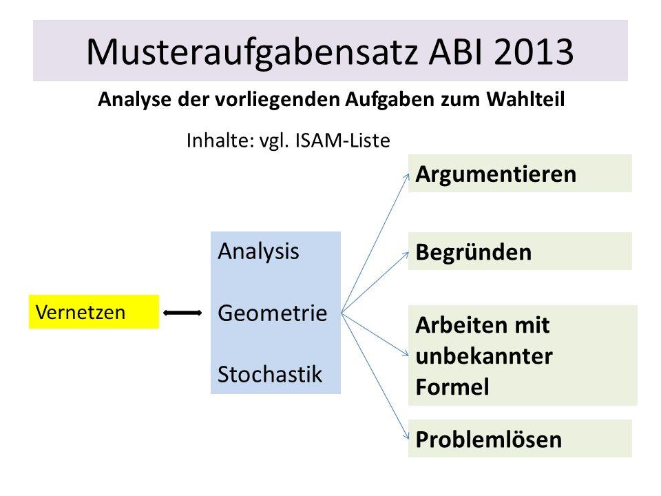 Musteraufgabensatz ABI 2013 Analyse der vorliegenden Aufgaben zum Wahlteil Argumentieren Analysis Geometrie Stochastik Vernetzen Inhalte: vgl. ISAM-Li