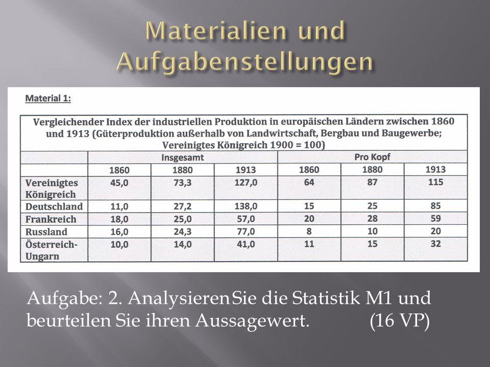 Aufgabe: 2. Analysieren Sie die Statistik M1 und beurteilen Sie ihren Aussagewert. (16 VP)