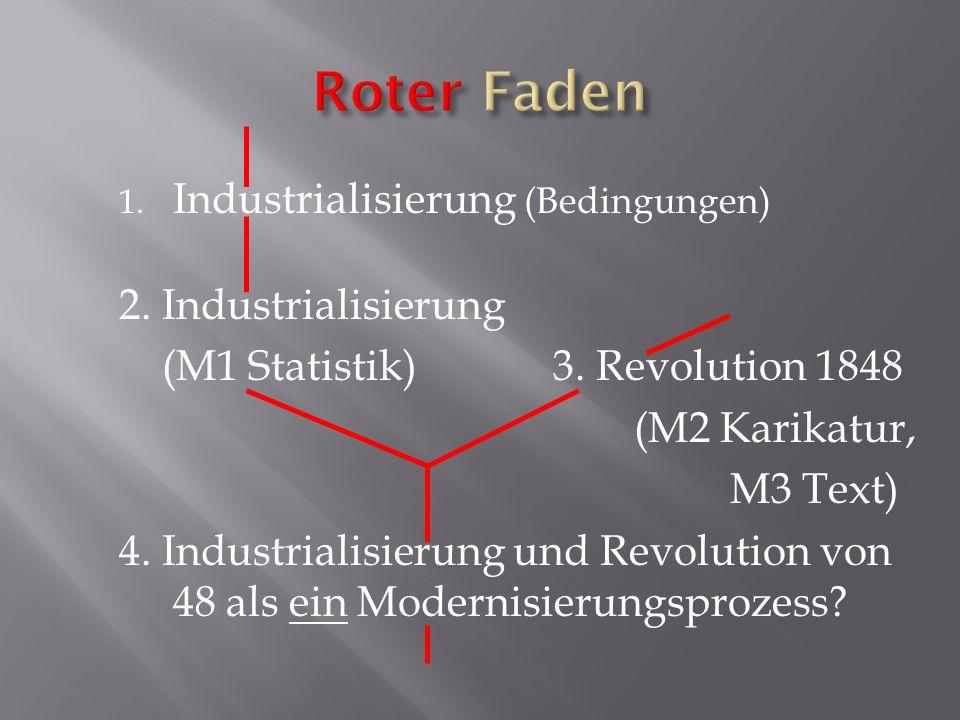 1. Industrialisierung (Bedingungen) 2. Industrialisierung (M1 Statistik) 3. Revolution 1848 (M2 Karikatur, M3 Text) 4. Industrialisierung und Revoluti