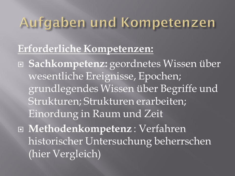 Erforderliche Kompetenzen: Sachkompetenz: geordnetes Wissen über wesentliche Ereignisse, Epochen; grundlegendes Wissen über Begriffe und Strukturen; S