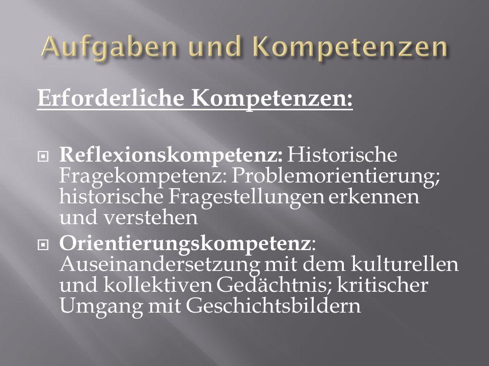 Erforderliche Kompetenzen: Reflexionskompetenz: Historische Fragekompetenz: Problemorientierung; historische Fragestellungen erkennen und verstehen Or