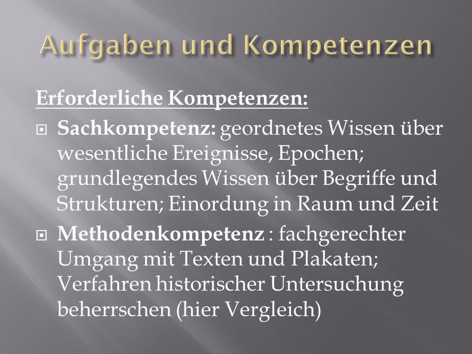 Erforderliche Kompetenzen: Reflexionskompetenz: Multiperspektivität und Kontroversität in der Geschichte erkennen, deuten und kritisch beurteilen, Urteils- und Kritikfähigkeit, Standortgebundenheit wahrnehmen