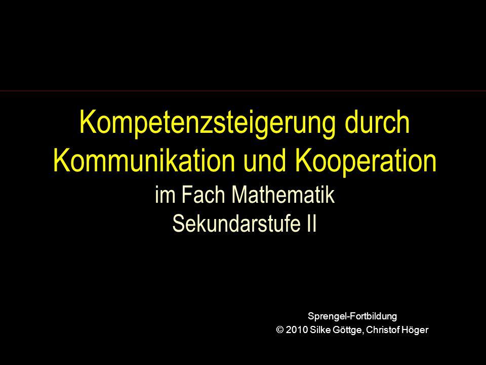 Anforderungen (2) Eine zur Kommunikation anregende Aufgabe lässt eine Vielfalt unterschiedlicher Lösungswege zu, kann auf unterschiedlichen Niveaus gelöst werden, fokussiert auch auf Vorstellungen als zentralen Bestandteil mathematischen Denkens (nach Daniela Götze, Franzbecker 2007)