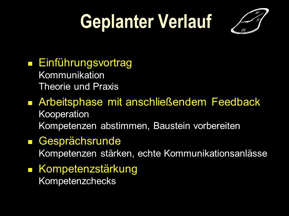 Einführungsvortrag Kommunikation Theorie und Praxis Arbeitsphase mit anschließendem Feedback Kooperation Kompetenzen abstimmen, Baustein vorbereiten G