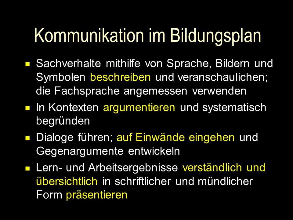 Kommunikation im Bildungsplan Sachverhalte mithilfe von Sprache, Bildern und Symbolen beschreiben und veranschaulichen; die Fachsprache angemessen ver