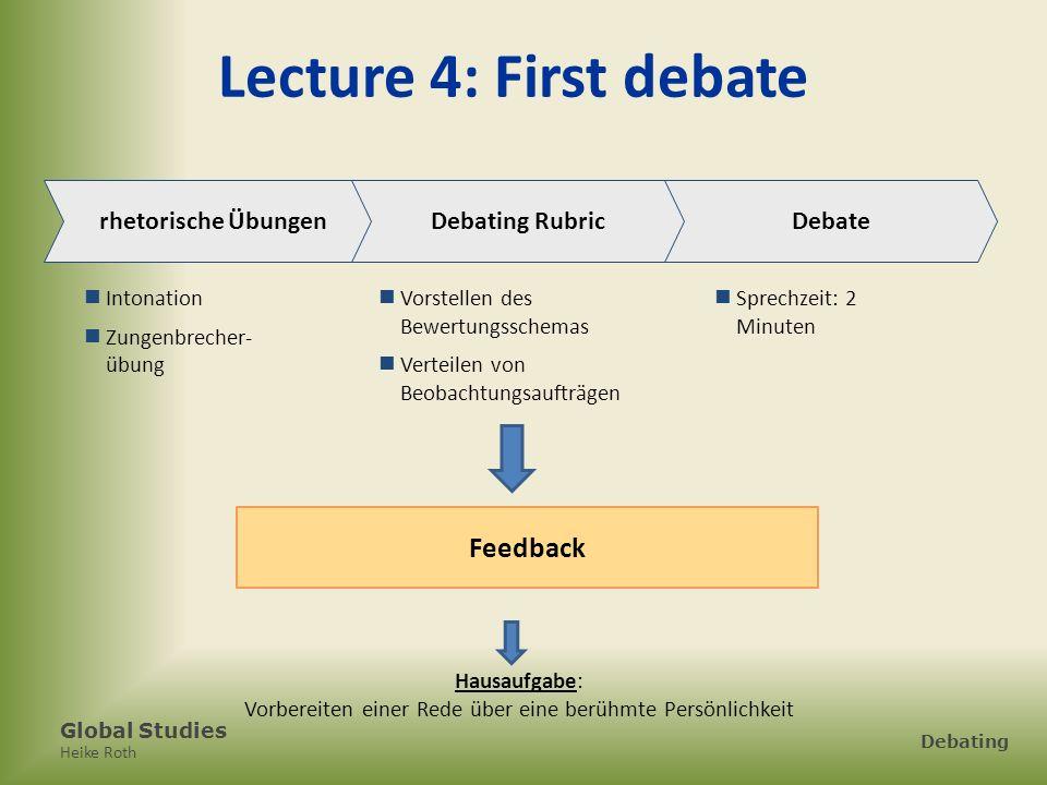 Global Studies Heike Roth Debating Lecture 4: First debate rhetorische Übungen Intonation Zungenbrecher- übung Debating Rubric Vorstellen des Bewertun