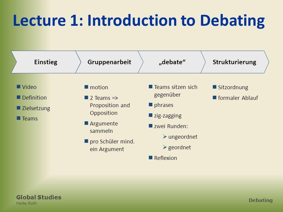 Global Studies Heike Roth Debating Lectures 6 & 7: Debattieren Lecture 6 Debate gleiche Motion wie in 4.