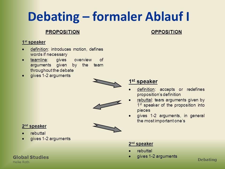 Global Studies Heike Roth Debating Debating – formaler Ablauf I PROPOSITIONOPPOSITION 1 st speaker definition: introduces motion, defines words if nec