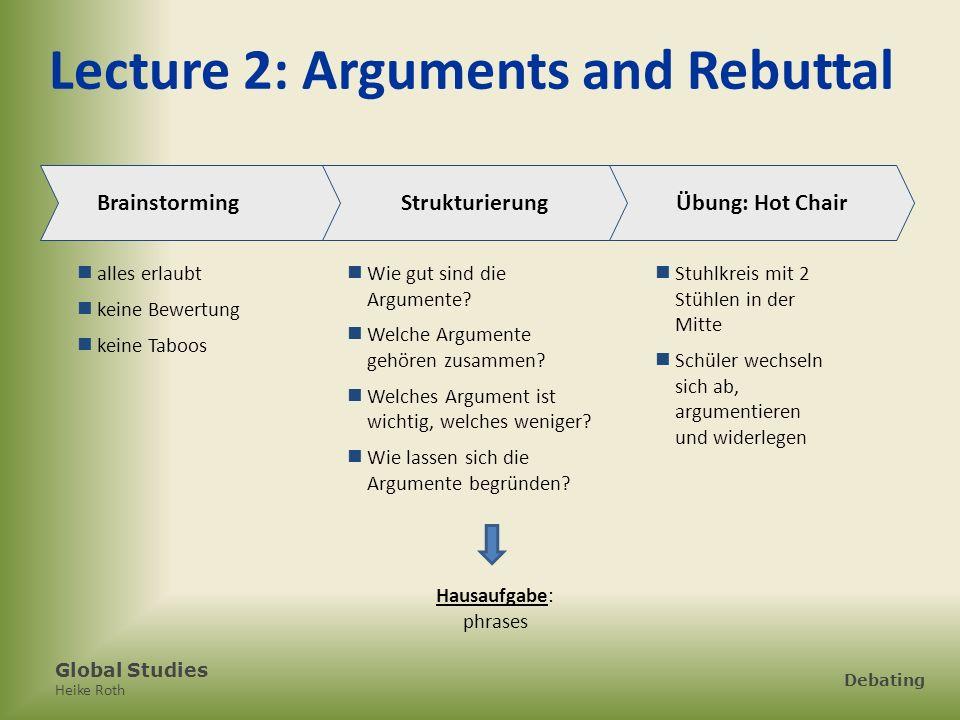 Global Studies Heike Roth Debating Lecture 2: Arguments and Rebuttal Brainstorming alles erlaubt keine Bewertung keine Taboos Strukturierung Wie gut s