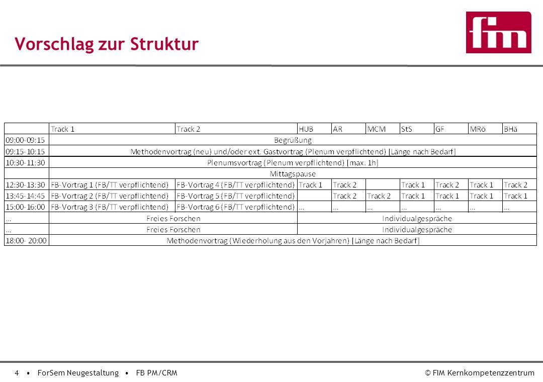 4 ForSem Neugestaltung FB PM/CRM© FIM Kernkompetenzzentrum Vorschlag zur Struktur