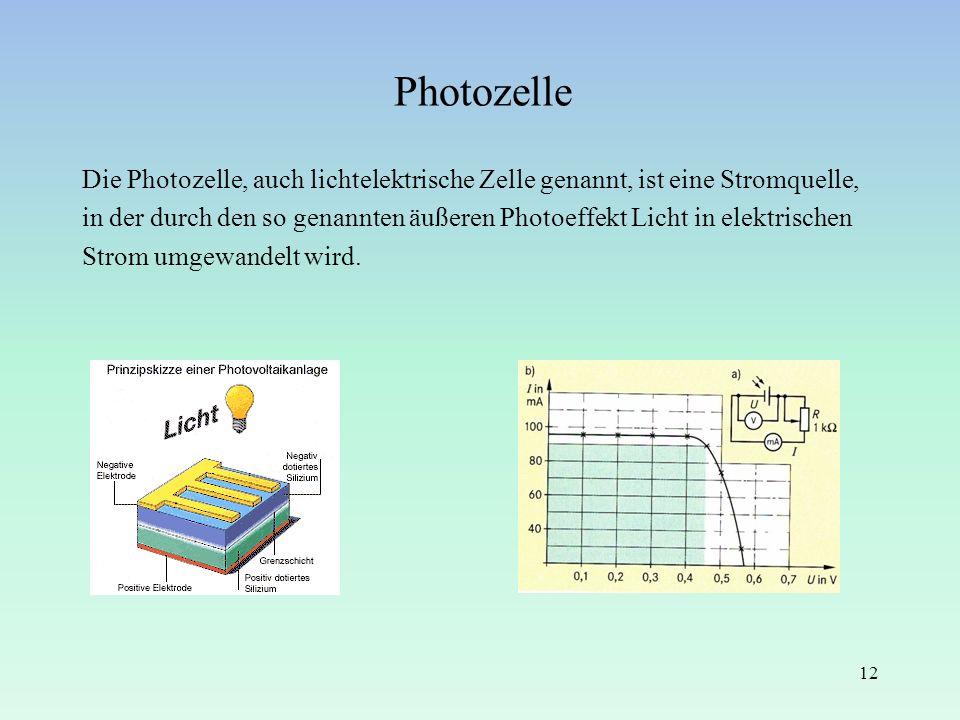 Photozelle Die Photozelle, auch lichtelektrische Zelle genannt, ist eine Stromquelle, in der durch den so genannten äußeren Photoeffekt Licht in elekt