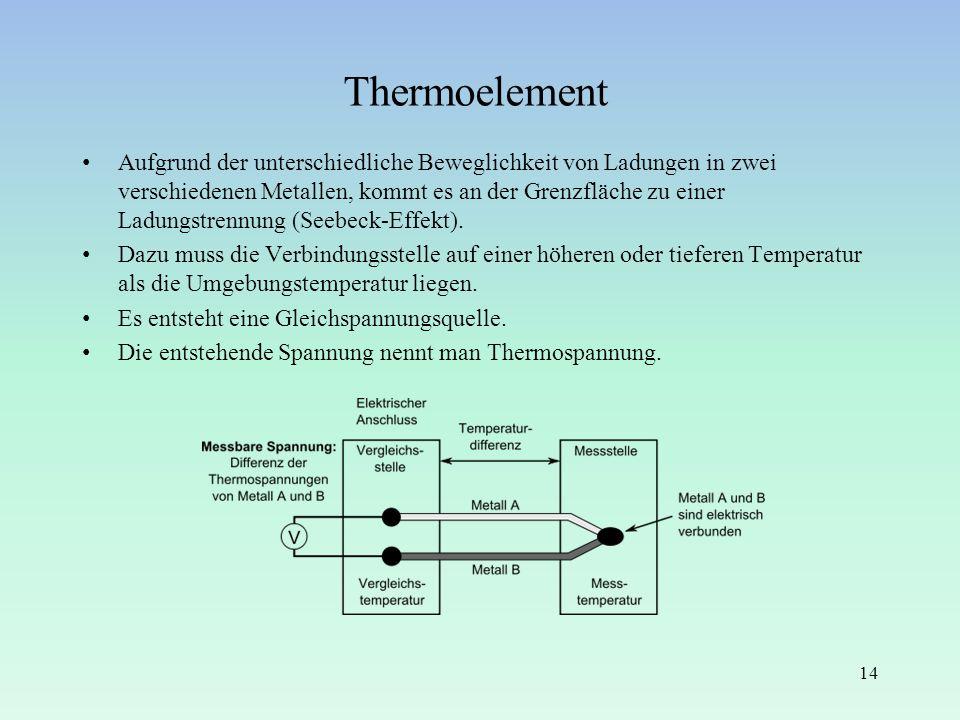 Thermoelement Aufgrund der unterschiedliche Beweglichkeit von Ladungen in zwei verschiedenen Metallen, kommt es an der Grenzfläche zu einer Ladungstre
