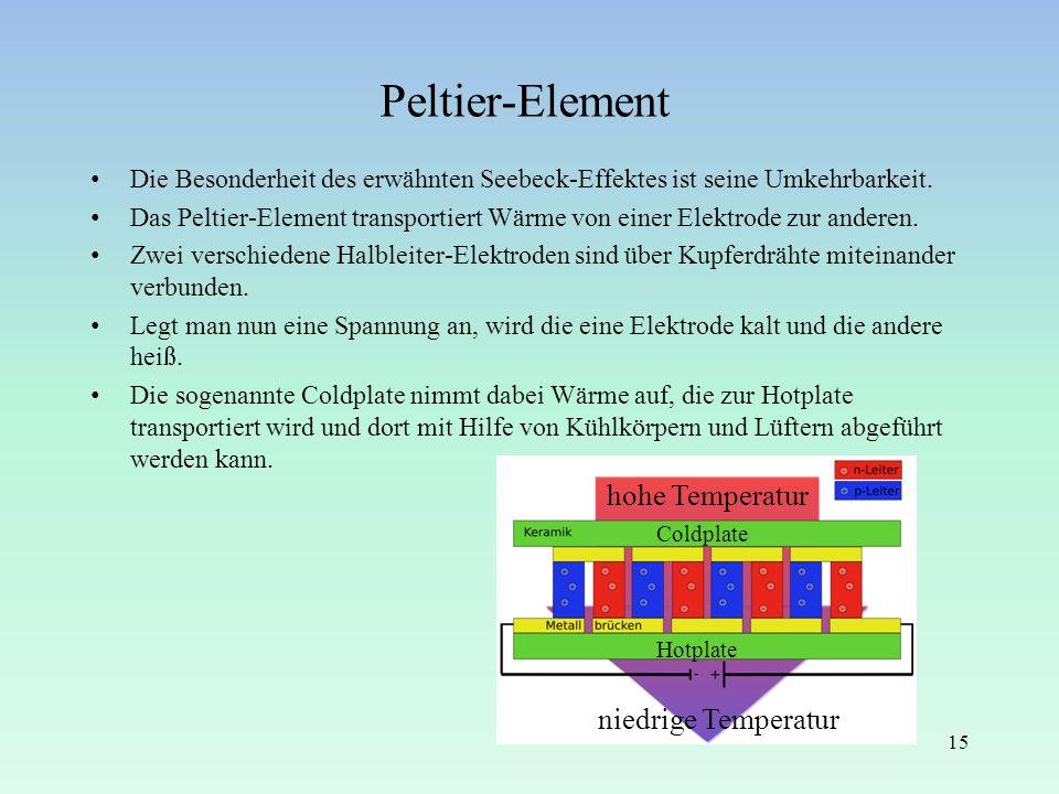 Peltier-Element Die Besonderheit des erwähnten Seebeck-Effektes ist seine Umkehrbarkeit. Das Peltier-Element transportiert Wärme von einer Elektrode z