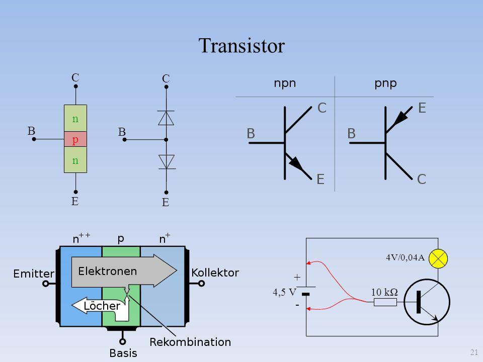 Transistor 21 p n n C B E C B E 10 k + - 4,5 V 4V/0,04A