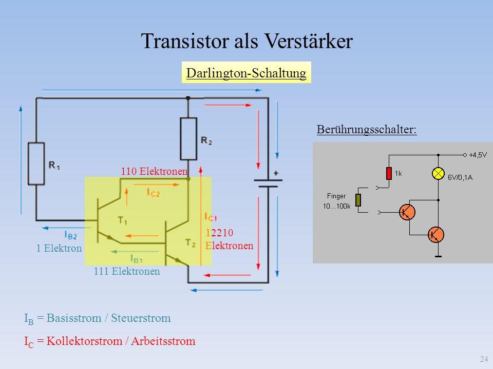 Darlington-Schaltung Transistor als Verstärker I C = Kollektorstrom / Arbeitsstrom I B = Basisstrom / Steuerstrom 12210 Elektronen 110 Elektronen 111