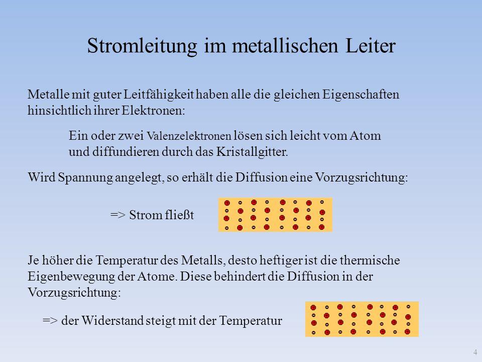 => der Widerstand steigt mit der Temperatur => Strom fließt Stromleitung im metallischen Leiter Metalle mit guter Leitfähigkeit haben alle die gleiche