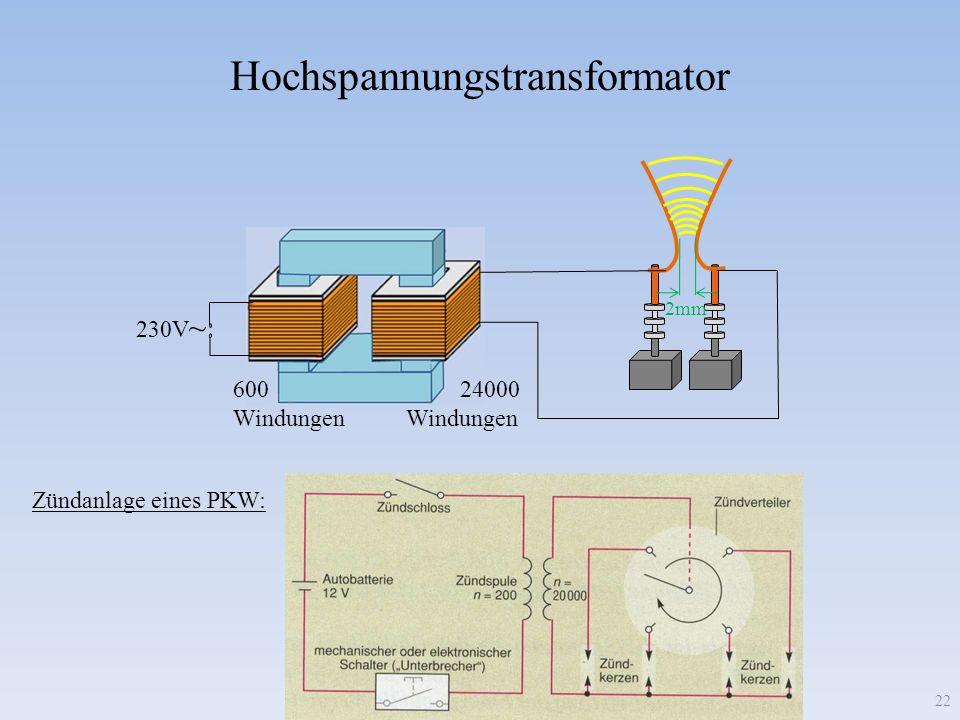 Hochspannungstransformator 230V ~ 600 Windungen 24000 Windungen Zündanlage eines PKW: 22 2mm