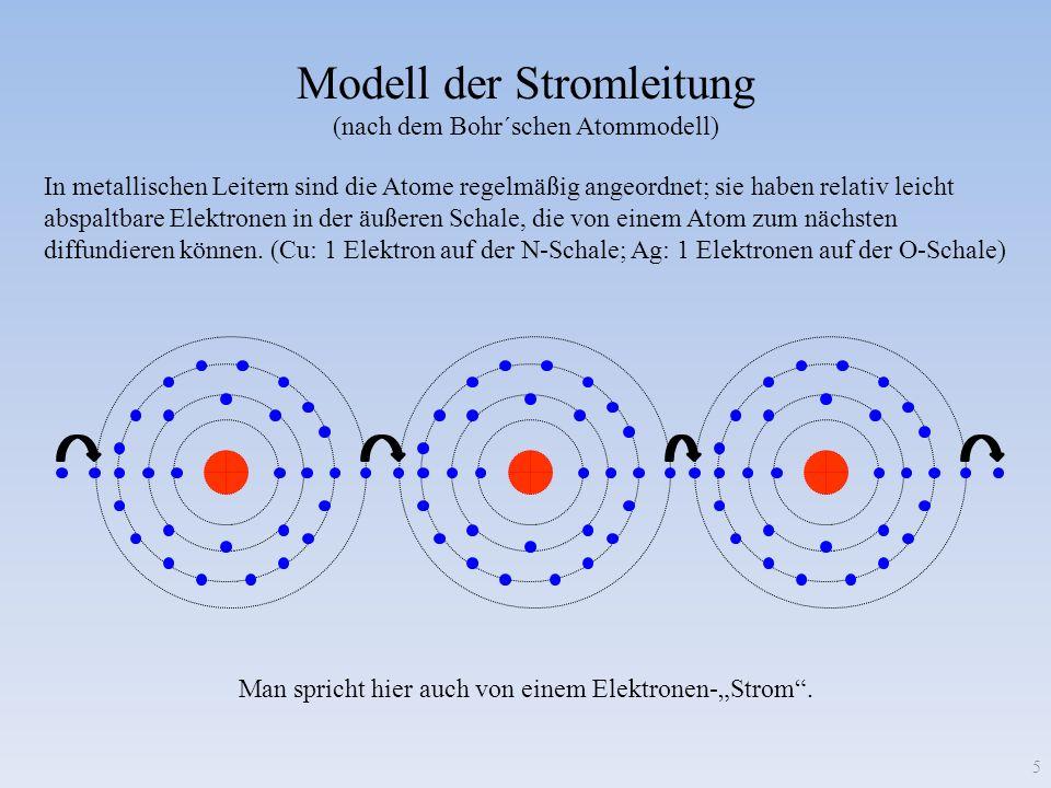 Modell der Stromleitung (nach dem Bohr´schen Atommodell) In metallischen Leitern sind die Atome regelmäßig angeordnet; sie haben relativ leicht abspal