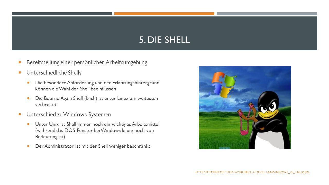 5. DIE SHELL Bereitstellung einer persönlichen Arbeitsumgebung Unterschiedliche Shells Die besondere Anforderung und der Erfahrungshintergrund können