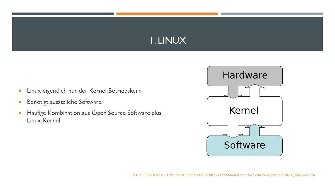 1. LINUX Linux eigentlich nur der Kernel: Betriebskern Benötigt zusätzliche Software Häufige Kombination aus Open Source Software plus Linux-Kernel HT