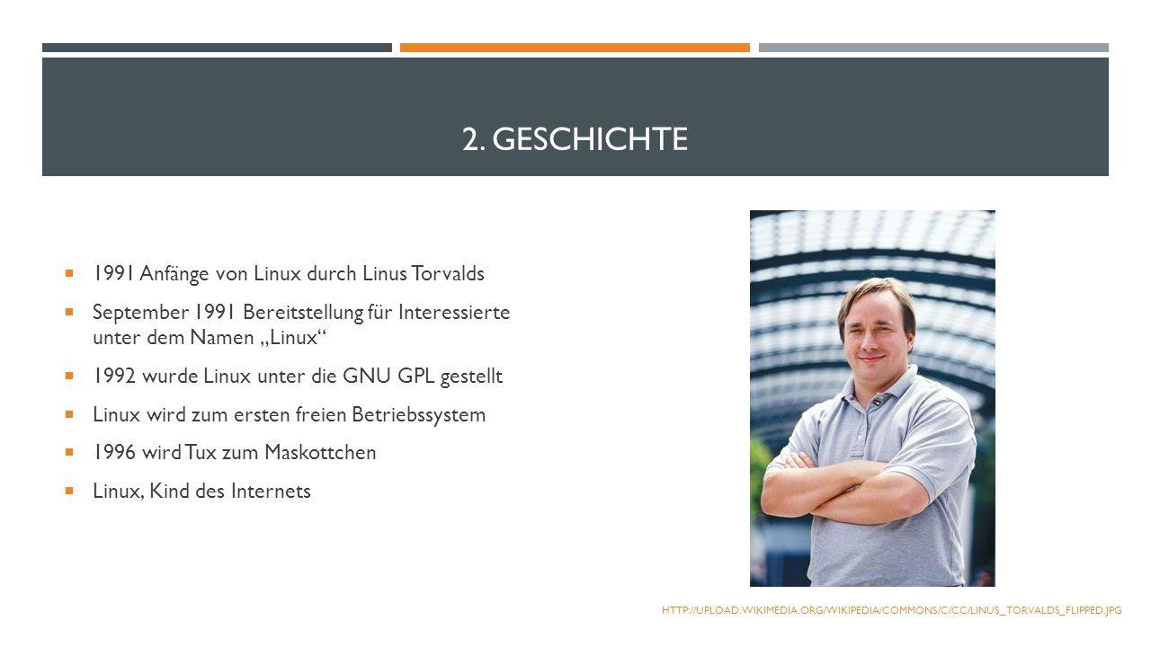 2. GESCHICHTE 1991 Anfänge von Linux durch Linus Torvalds September 1991 Bereitstellung für Interessierte unter dem Namen Linux 1992 wurde Linux unter