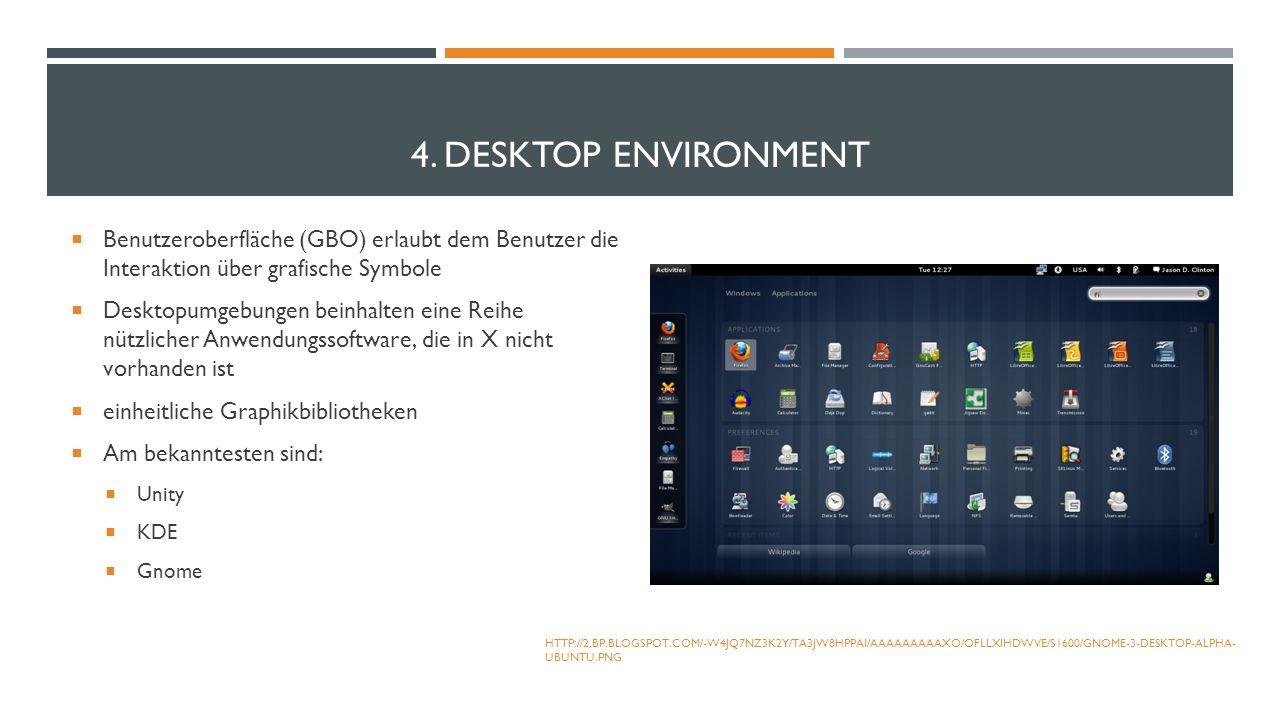 4. DESKTOP ENVIRONMENT Benutzeroberfläche (GBO) erlaubt dem Benutzer die Interaktion über grafische Symbole Desktopumgebungen beinhalten eine Reihe nü