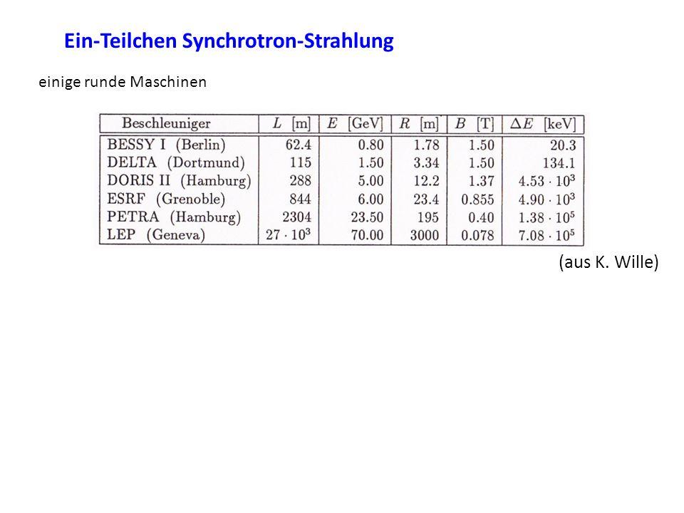 Ein-Teilchen Synchrotron-Strahlung einige runde Maschinen (aus K. Wille)