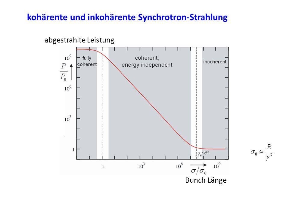 kohärente und inkohärente Synchrotron-Strahlung Bunch Länge abgestrahlte Leistung