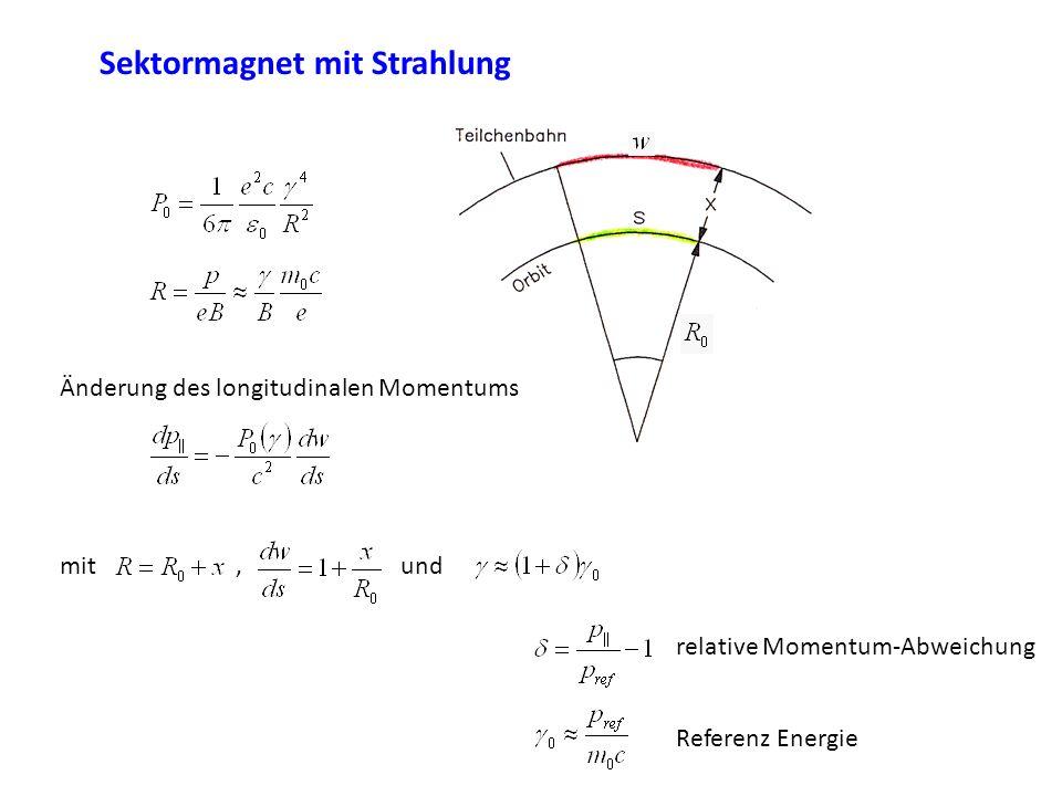 Sektormagnet mit Strahlung Änderung des longitudinalen Momentums mit, und relative Momentum-Abweichung Referenz Energie
