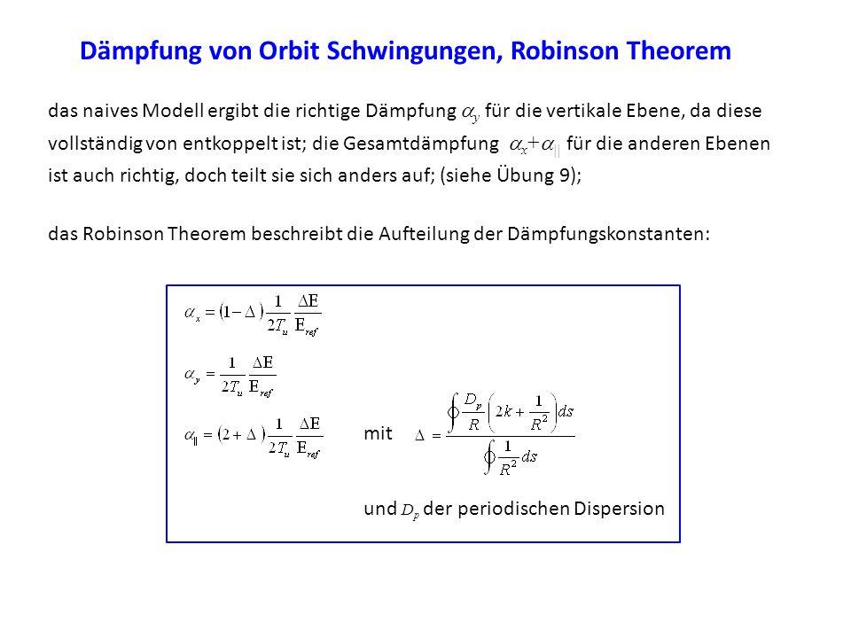 Dämpfung von Orbit Schwingungen, Robinson Theorem das naives Modell ergibt die richtige Dämpfung y für die vertikale Ebene, da diese vollständig von e