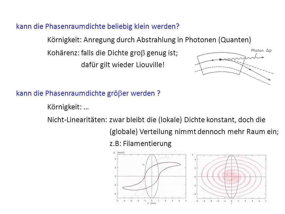 kann die Phasenraumdichte beliebig klein werden? Körnigkeit: Anregung durch Abstrahlung in Photonen (Quanten) Kohärenz: falls die Dichte gro genug ist