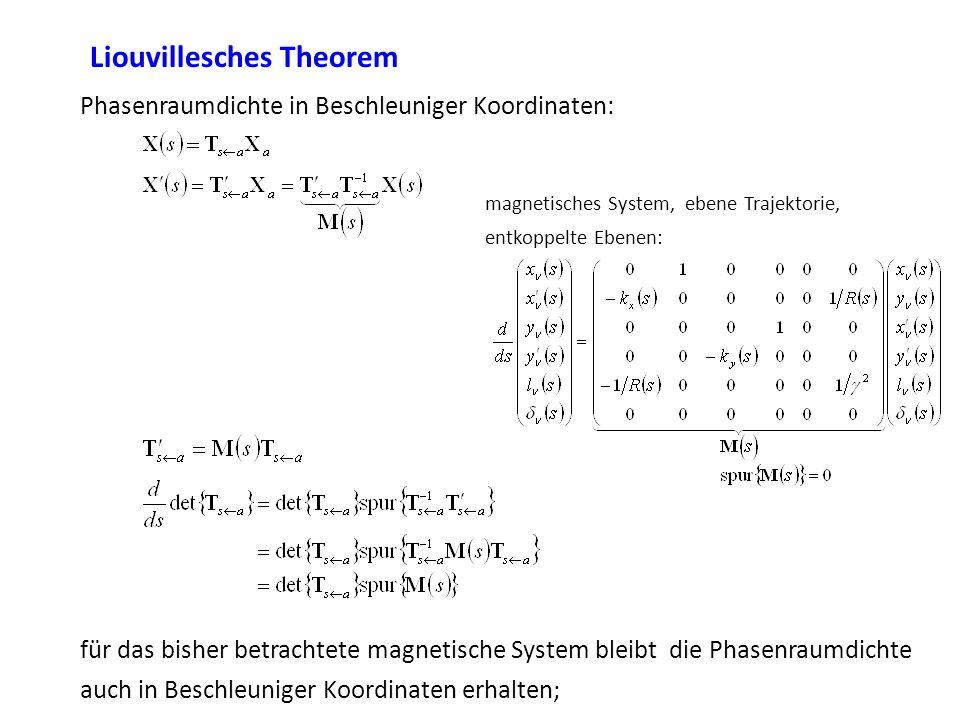 Liouvillesches Theorem Phasenraumdichte in Beschleuniger Koordinaten: magnetisches System, ebene Trajektorie, entkoppelte Ebenen: für das bisher betra