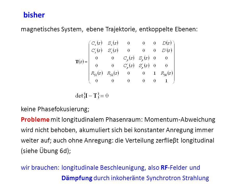 bisher magnetisches System, ebene Trajektorie, entkoppelte Ebenen: keine Phasefokusierung; Probleme mit longitudinalem Phasenraum: Momentum-Abweichung