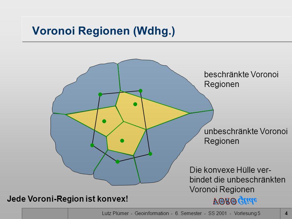 Lutz Plümer - Geoinformation - 6. Semester - SS 2001 - Vorlesung 53 Übersicht II Merge Konstruktion des trennenden Kantenzuges Konvexe Hülle von P1 un