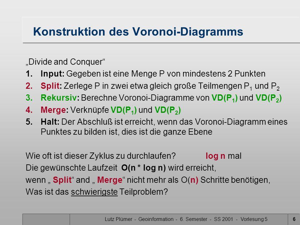 Lutz Plümer - Geoinformation - 6. Semester - SS 2001 - Vorlesung 55 Eigenschaften von Voronoi-Diagrammen (Wdhg.) Vereinfachende Annahme: aus der gegeb
