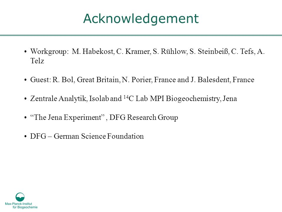 Workgroup: M. Habekost, C. Kramer, S. Rühlow, S. Steinbeiß, C. Tefs, A. Telz Guest: R. Bol, Great Britain, N. Porier, France and J. Balesdent, France