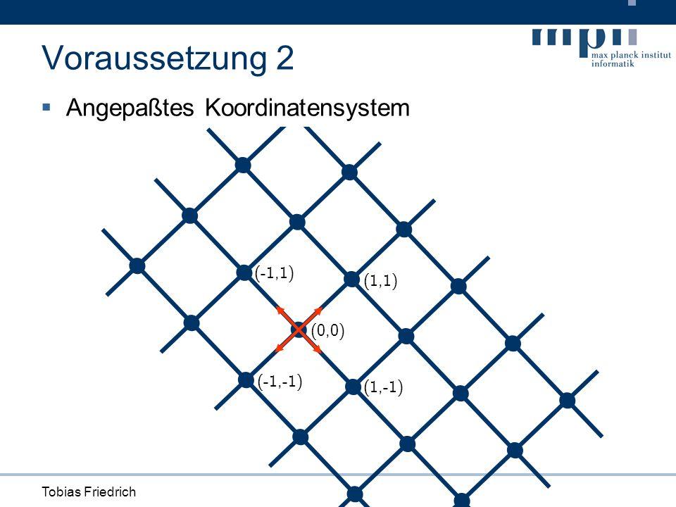 Tobias Friedrich (1,1) (-1,1) (-1,-1) (1,-1) (0,0) Angepaßtes Koordinatensystem Voraussetzung 2