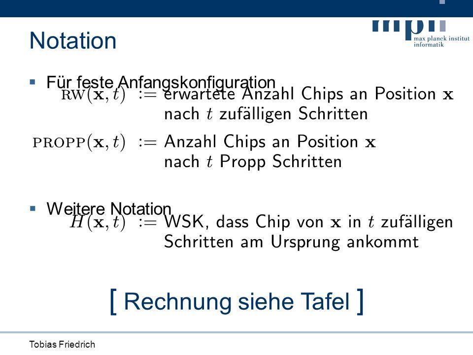 Tobias Friedrich Für feste Anfangskonfiguration Notation [ Rechnung siehe Tafel ] H ( x ; t ) : = WSK, d ass Ch i pvon x i n t zu f Ä a ll i gen S c h r i tt enam U rsprungan k omm t Weitere Notation
