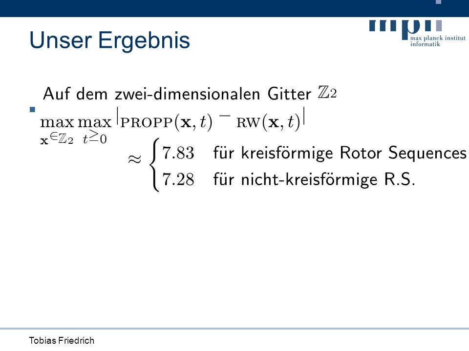 Tobias Friedrich Unser Ergebnis max x 2 Z 2 max t ¸ 0 j propp ( x ; t ) ¡ rw ( x ; t ) j A u fd emzwe i - d i mens i ona l en G i tt er Z 2 ¼ ( 7 : 83 f Ä ur k re i s f Ä orm i ge R o t or S equences 7 : 28 f Ä urn i c h t - k re i s f Ä orm i ge R.