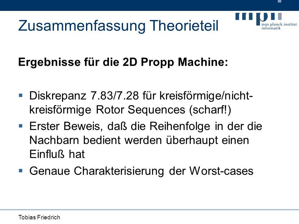 Tobias Friedrich Zusammenfassung Theorieteil Ergebnisse für die 2D Propp Machine: Diskrepanz 7.83/7.28 für kreisförmige/nicht- kreisförmige Rotor Sequences (scharf!) Erster Beweis, daß die Reihenfolge in der die Nachbarn bedient werden überhaupt einen Einfluß hat Genaue Charakterisierung der Worst-cases