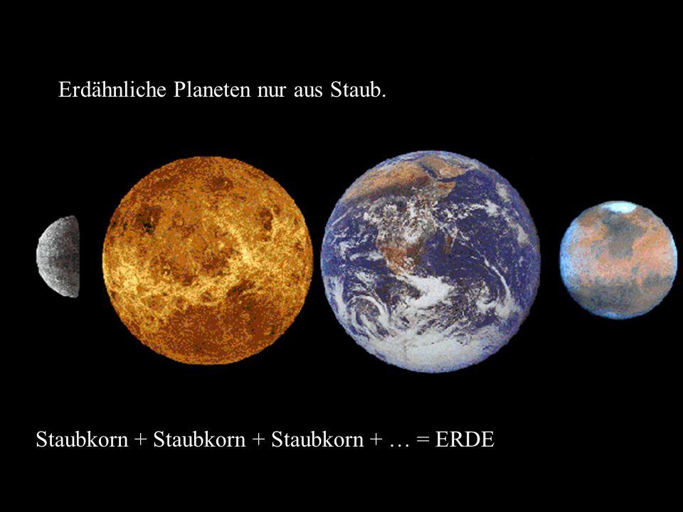 Erdähnliche Planeten nur aus Staub. Staubkorn + Staubkorn + Staubkorn + … = ERDE