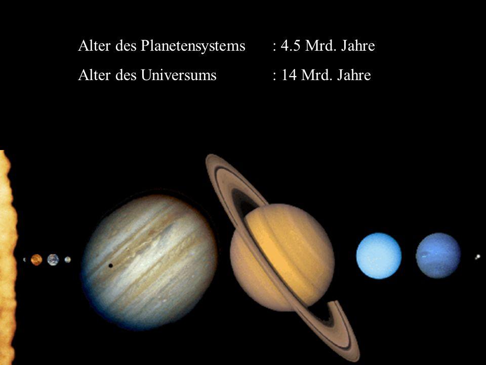 Alter des Planetensystems: 4.5 Mrd. Jahre Alter des Universums: 14 Mrd. Jahre