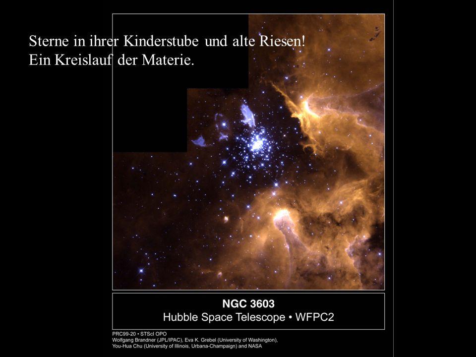 Sterne in ihrer Kinderstube und alte Riesen! Ein Kreislauf der Materie.