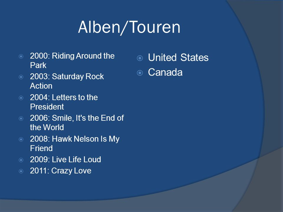 Alben/Touren 2000: Riding Around the Park 2003: Saturday Rock Action 2004: Letters to the President 2006: Smile, It's the End of the World 2008: Hawk