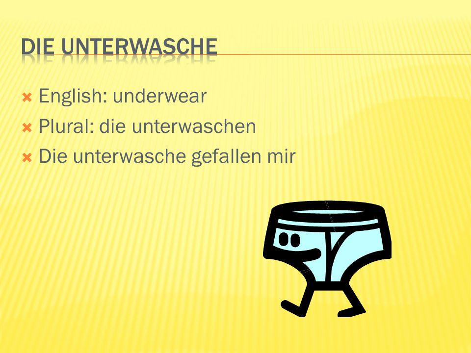 English: underwear Plural: die unterwaschen Die unterwasche gefallen mir